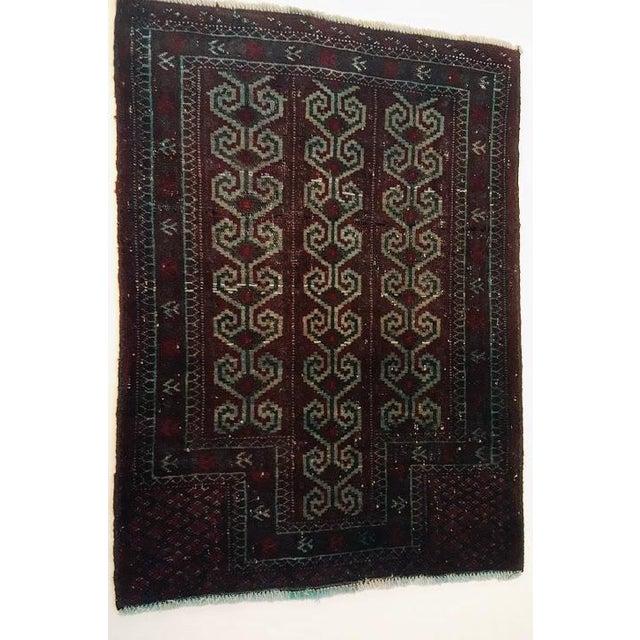 Dark Wool Turkish Rug - 2′8″ × 3′8″ For Sale - Image 4 of 8