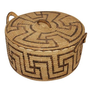 Amazing Lided Papago Basket with Handles For Sale