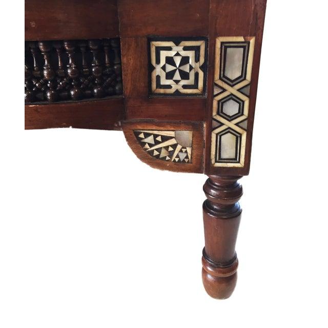 """19th C Middle Eastern /Moorish Chair W/Mother Pearl 41"""" H For Sale In New York - Image 6 of 12"""