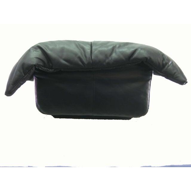 ligne roset black leather ottoman chairish. Black Bedroom Furniture Sets. Home Design Ideas