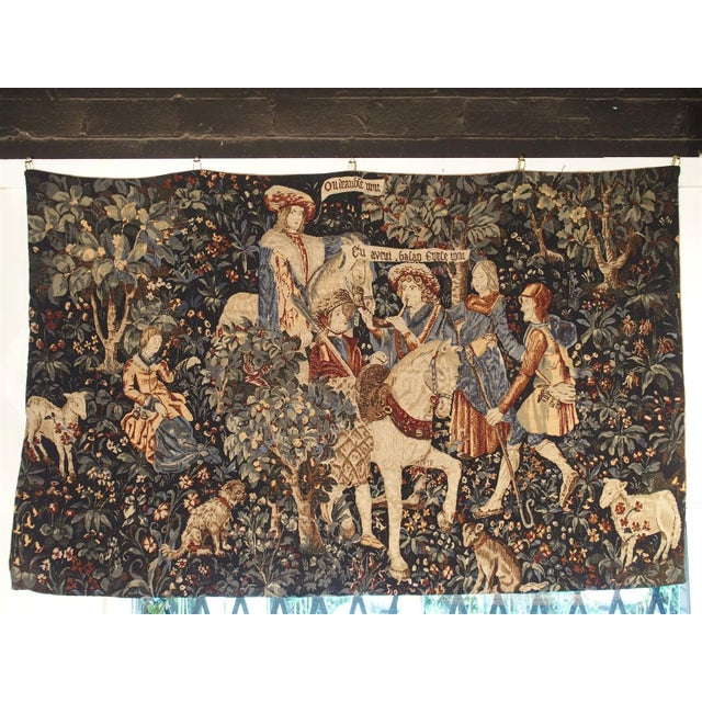 Red Medieval Style Tapestry from France, 20th Century For Sale - Image 8 of 12