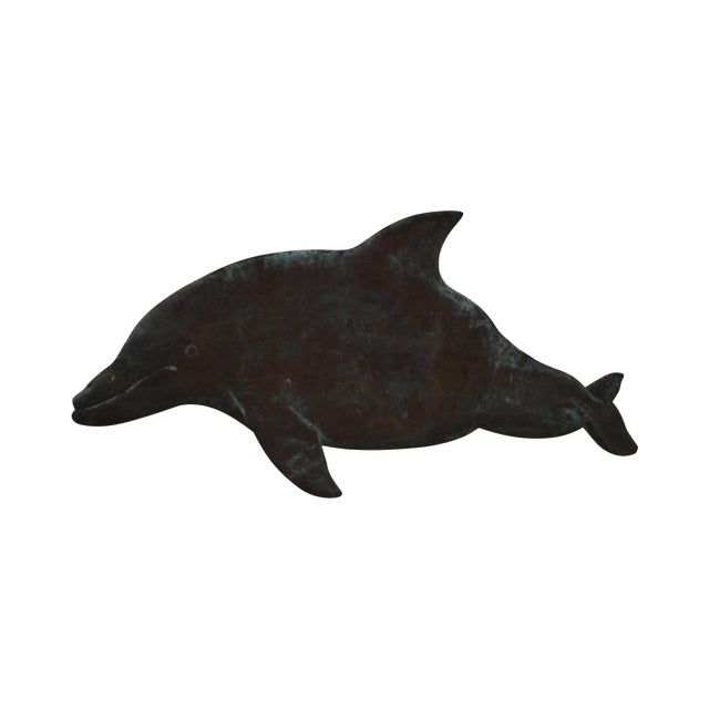Hammered Copper Weathered Dolphin Wall Sculpture For Sale