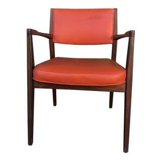 Danish Modern Arm Chair With Solid Wood and Orange Vinyl For Sale