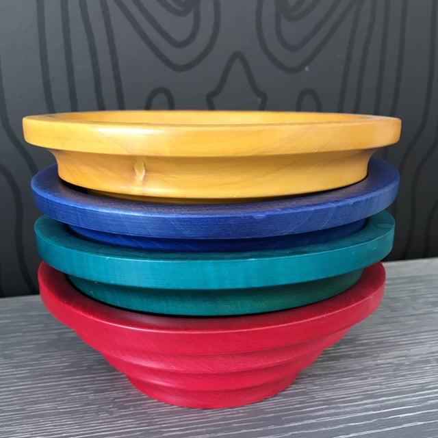 Manzom Vietri Wood Salad Bowls - Set of 4 For Sale - Image 4 of 10