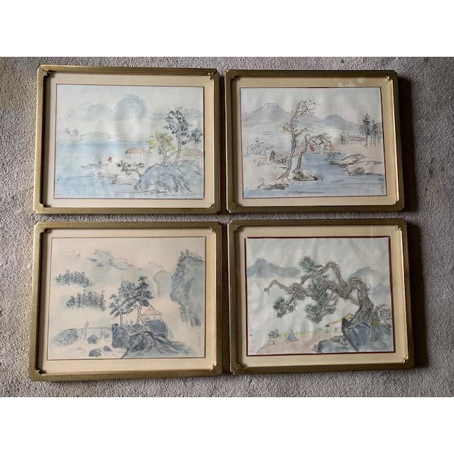 Early 20th Century Antique Landscape Watercolor Paintings - Set of 4 For Sale - Image 10 of 10