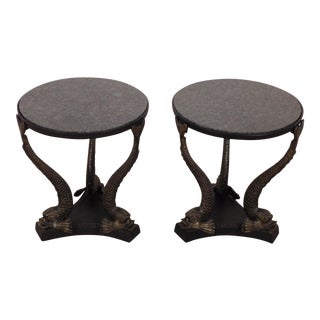 Neoclassical Maitland Smith Dolphi-Koi Granite Top Side Tables - a Pair For Sale