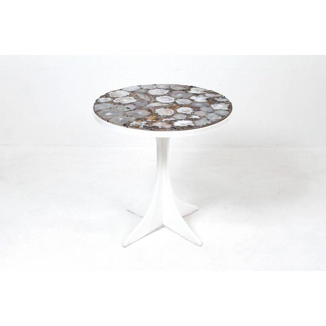 Miriam Rogers stone mosaic occasional table. Impressively graphic grey and orange mineral, stone, and geode top. Cruciform...