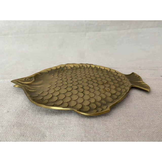 Vintage Brass Fish Plate For Sale - Image 4 of 6
