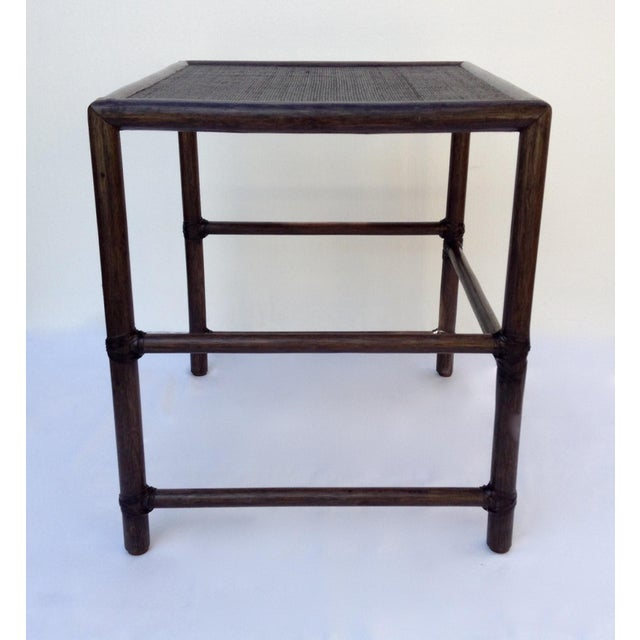 Asian McGuire Leather Strapped Rattan & Cane Side Table For Sale - Image 3 of 11