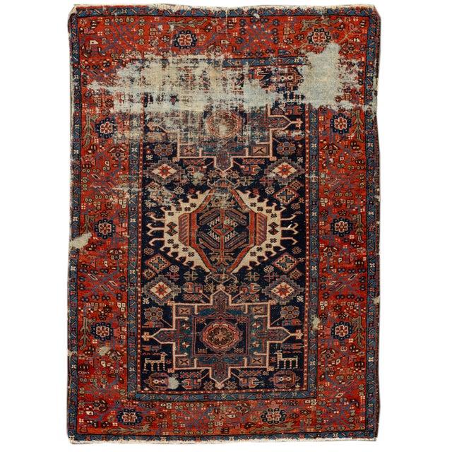 "Antique Persian Heriz Rug, 4'6"" X 6'2"" For Sale - Image 9 of 9"