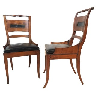 1830s Continental Neoclassical Style Elm Wood Side Chairs-a Pair For Sale