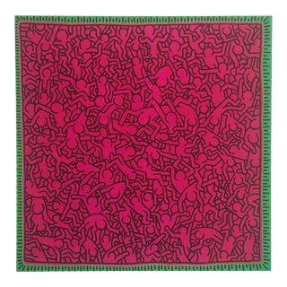 "1984 Keith Haring Original Pop Art "" Untitled Pink People "" Lithograph Print For Sale"
