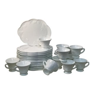Vintage Westmoreland Milk Glass Grape Snack Plates With Matching Tea Cups - Set of 24 For Sale