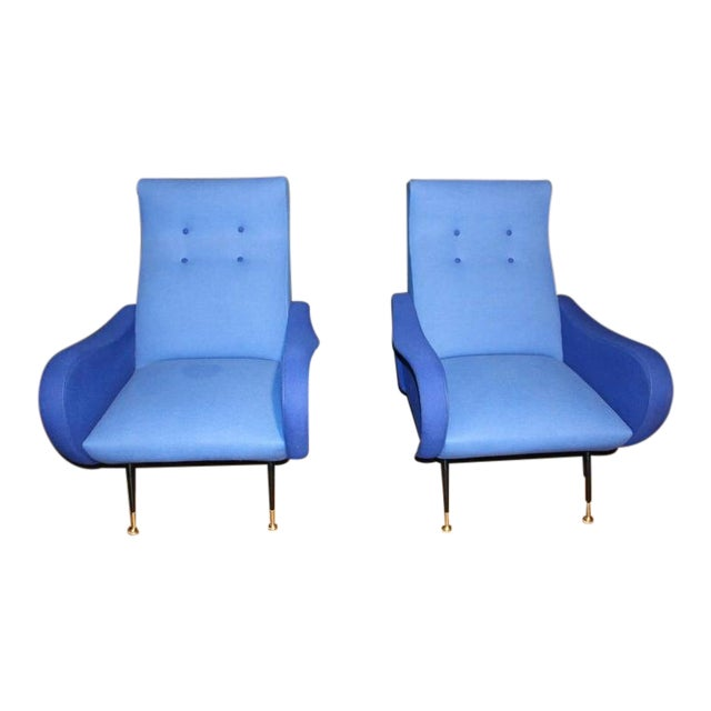 Italian Pair of Blue Mid-Century Chairs in the Style of Zanuso For Sale