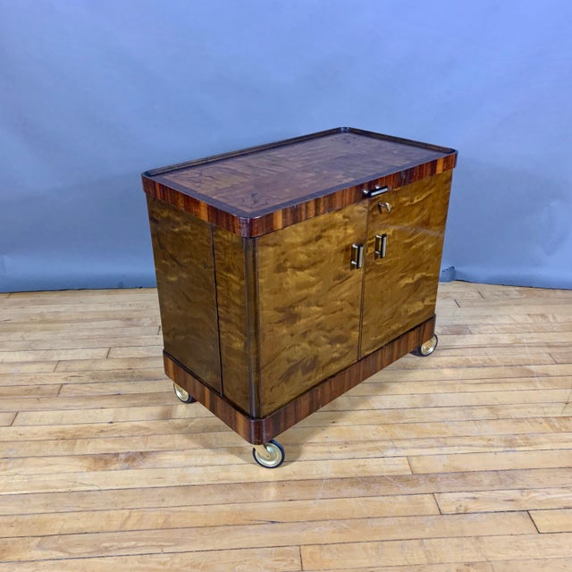 Art Deco 1930s Rootwood & Rosewood Bar Cabinet With Intarsia For Sale - Image 3 of 11