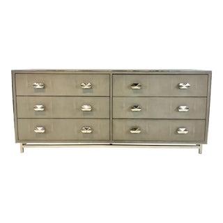 Modern Faux Shagreen Gray Six Drawer Dresser For Sale