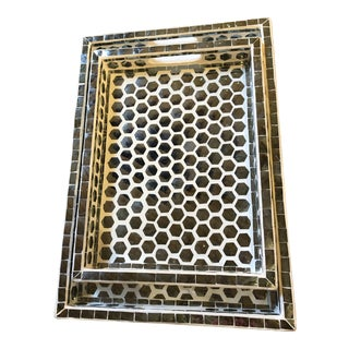 Made Goods Mirrored Trays With Hexagon Mosaic - Set of 2 For Sale