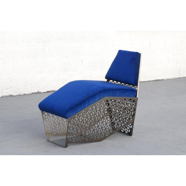 Rehab Vintage Interiors petite chaise lounge chair. Features custom laser cut sheet metal with a metallic bronze powder...