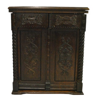 Antique Gothic Victorian Heavily Carved Tiger Oak Barley Twist Sewing Cabinet