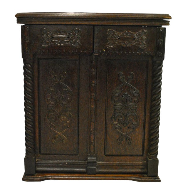 Antique Gothic Victorian Heavily Carved Tiger Oak Barley Twist Sewing  Cabinet For Sale - Antique Gothic Victorian Heavily Carved Tiger Oak Barley Twist