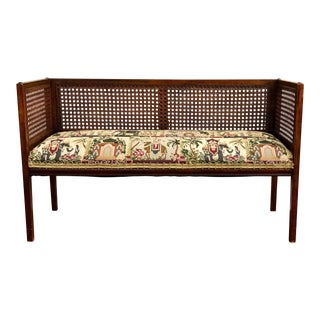 Mid Century Modern Cane-Back Settee For Sale