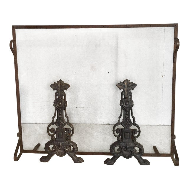 Early 19th Century Antique French Fireplace Screen and Andirons - Set of 3 For Sale