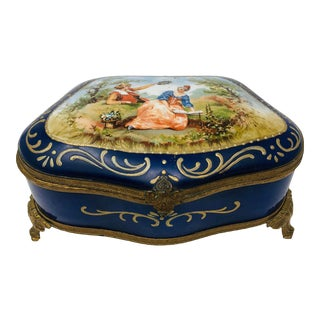 Antique Handpainted Victorian Jewelry Casket For Sale