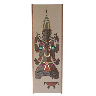 "Mid Century Modern Mosaic Hindu Inspired Wall Panel Wall Art 36"" For Sale"