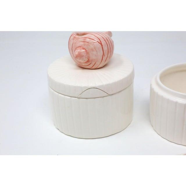 White Vintage Fitz & Floyd Ceramic Seashell Trinket Boxes - Set of 3 For Sale - Image 8 of 11