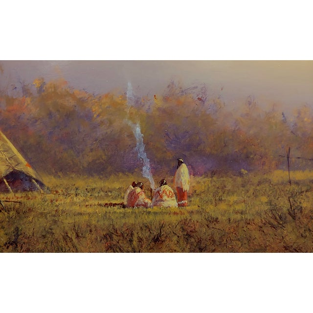 1980s Mark Geller -Panoramic View of Teepees in an Indian Camp -Oil Painting For Sale - Image 5 of 10