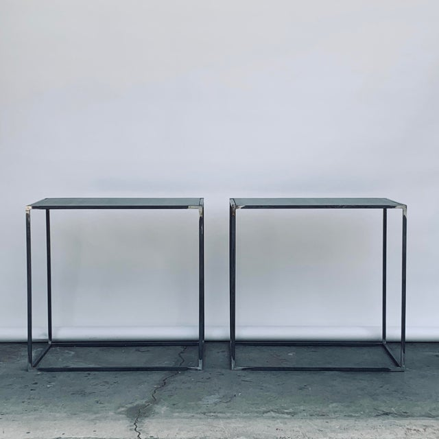 DESIGN FRERES Filiforme' Patinated Steel Minimalist Side Tables by Design Frères - a Pair For Sale - Image 4 of 7