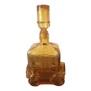 1950s Mid-Century Modern Amber Glass Decanter