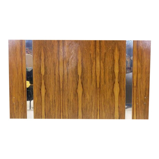 Milo Baughman for Thayer Coggin Rosewood With Chrome Trim Queen Size Headboard For Sale