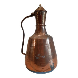 Vintage Rustic Copper Pitcher For Sale