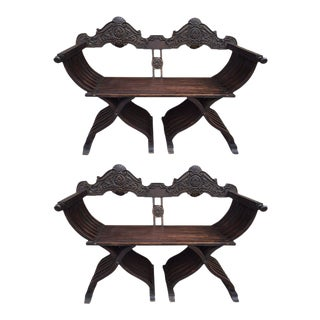 Pair of Antique Italian Savonarola Benches or Settees