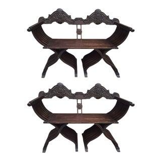 Pair of Antique Italian Savonarola Benches or Settees For Sale