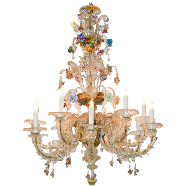 Antique Venetian Multi-Color Blown Glass Chandelier For Sale - Image 11 of 11