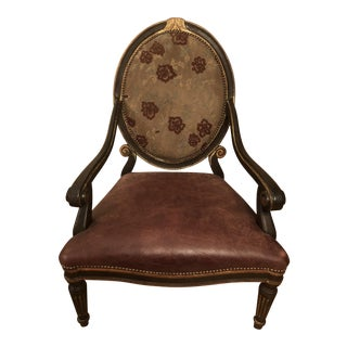 Distressed Burgundy Leather Bergere Chair
