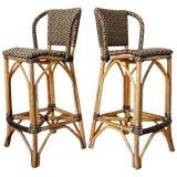 Image of Pair of Palecek Bamboo Rattan Organic Modern Bar Stools For Sale