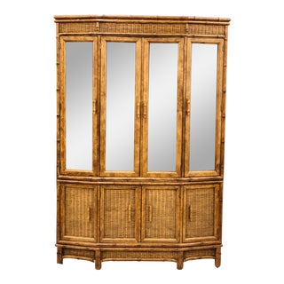 Vtg Faux Bamboo & Wicker Hutch