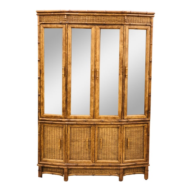 Vtg Faux Bamboo & Wicker Hutch For Sale