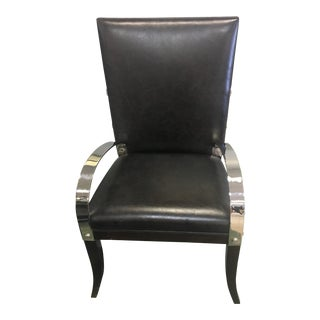Theodore Alexander Leather & Stainless Arm Chair For Sale