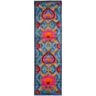 "Lyon, Suzani Runner Rug - 3'1"" X 10'7"" For Sale"