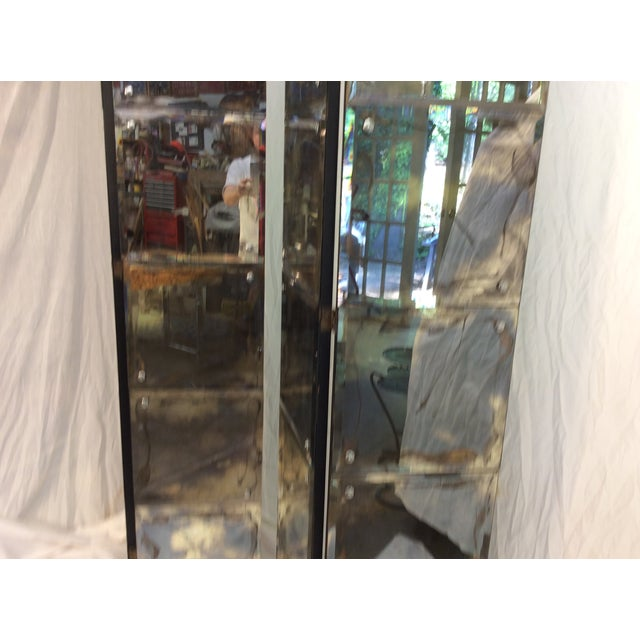 Mid-Century Modern Mirrored Four-Panel Screen - Image 6 of 11