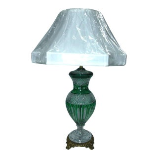 Hungarian Emerald Green Crystal Table Lamp For Sale