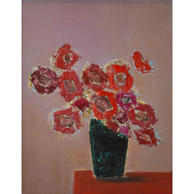 """Bill Tansey """"Red"""" Abstarct Floral Oil Painting on Canvas For Sale"""