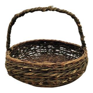 Vintage Woven Gathering Basket For Sale