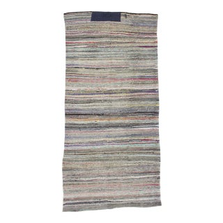 1960s Turkish Striped Decorative Rag Rug For Sale
