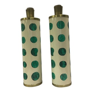 Piero Fornasetti Green Cameo Table Lamps - a Pair For Sale