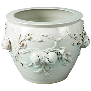 Large Chinese Porcelain Celedon Jardiniere For Sale